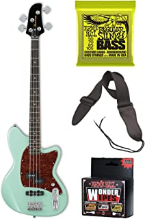 Ibanez TMB100 Talman Bass Guitar with Extra Strings, Guitar Strap and Cleaning Wipes Bundle
