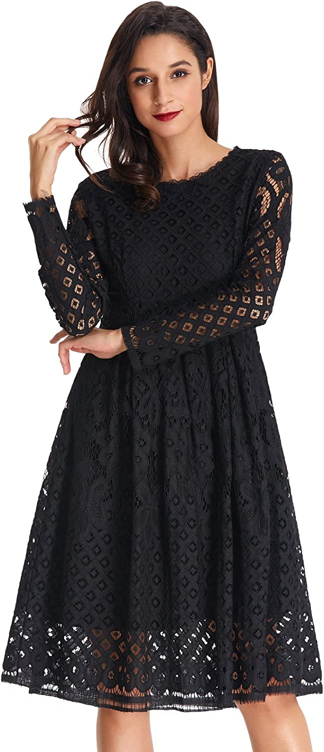 GRACE KARIN Women Scoop Neck Floral Lace Midi Dress for Cocktail ClAF0402