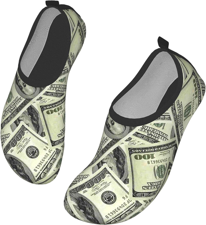 Women Men Water Shoes Barefoot Cool Usa Dollar Bill Vintage Money Quick-Dry Aqua Socks For Sports Beach Walking Yoga