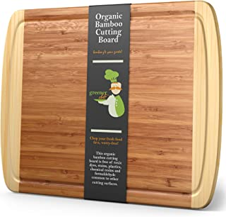 """XL Bamboo Cutting Board - Lifetime Replacement Wood Cutting Board - 18 x 12.5"""" - Organic Chopping Board for Meat and Veget..."""