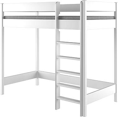 Hubi Loft Bunk Bed Entrée sur le devant avec matelas (200 x 90 cm, blanc)