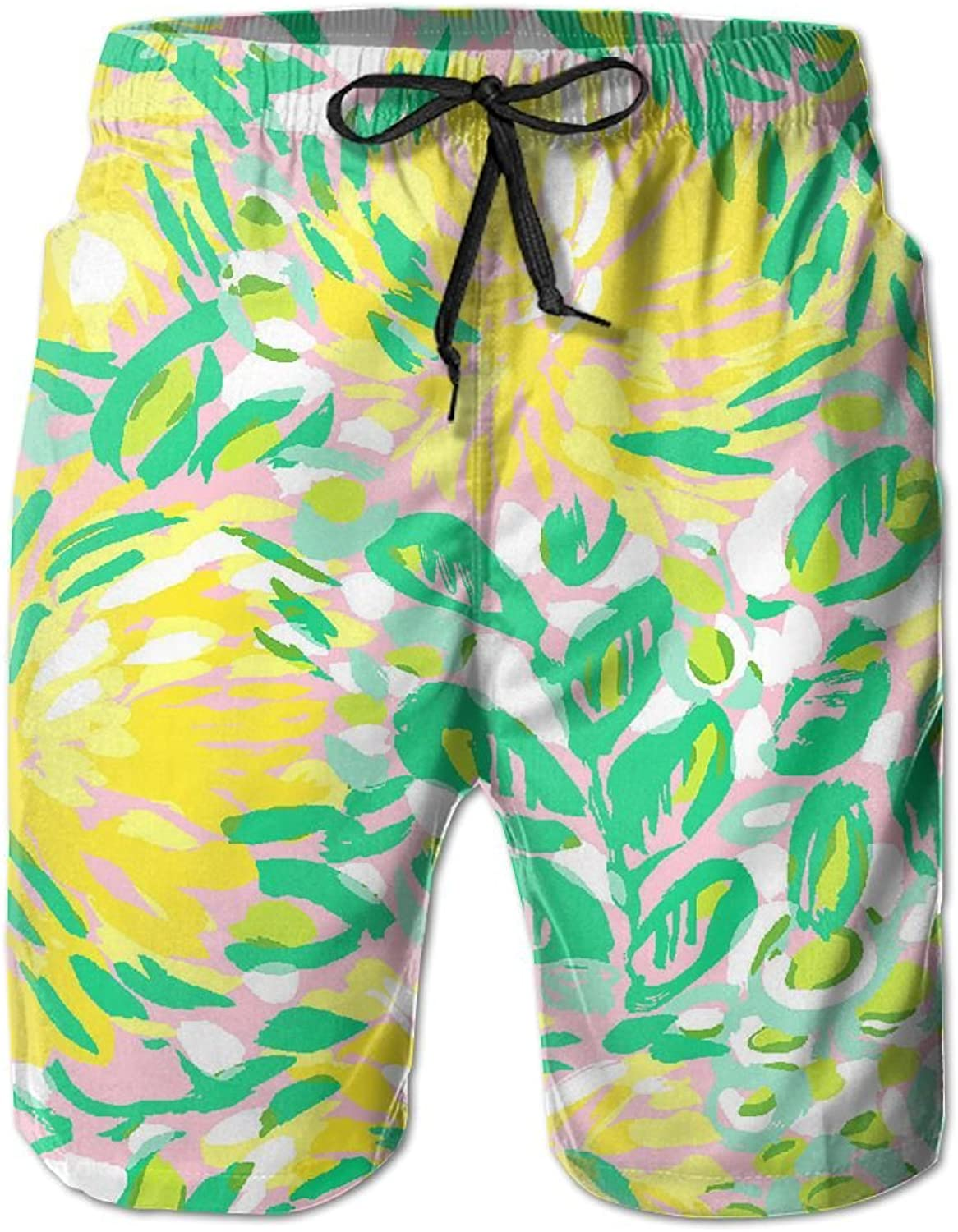 00206b305a0be Quick Dry Men's Beach Board Shorts Shorts Shorts Yellow Green Watercolor  Painting Surfing Swim Trunks Beachwear With Pockets 5f39ca