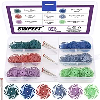 Swpeet 66Pcs 1 Inch 6 Mixed Grit 80/120/220/400/600/1000 Radial Bristle Disc Abrasive Brush Gap Polishing Pad Buffing Wheel Assortment Kit with 1/8