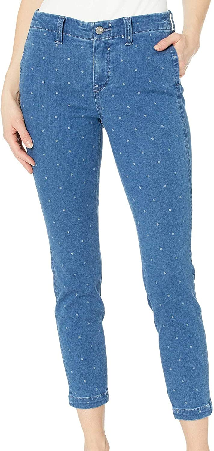 NYDJ Ami Skinny Ankle Jeans with Side Seam Welt Pockets in Beachside Polka Dot