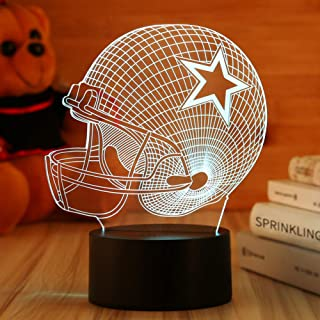 Dallas Cowboys Helmet Night Light 3D Football Helmet Illusion Lamp,Children's Day Best Gift,Football Fans Kids Bedroom Decor Bedside Lamp,7 Colors Change LED Lamps,Smart Touch USB,Birthday Gift Baby