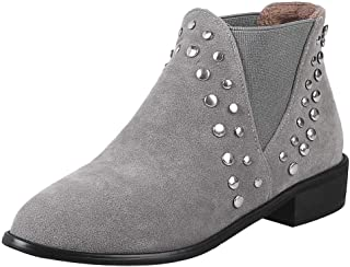 MisaKinsa Women Low Heels Chelsea Boots with Rivets