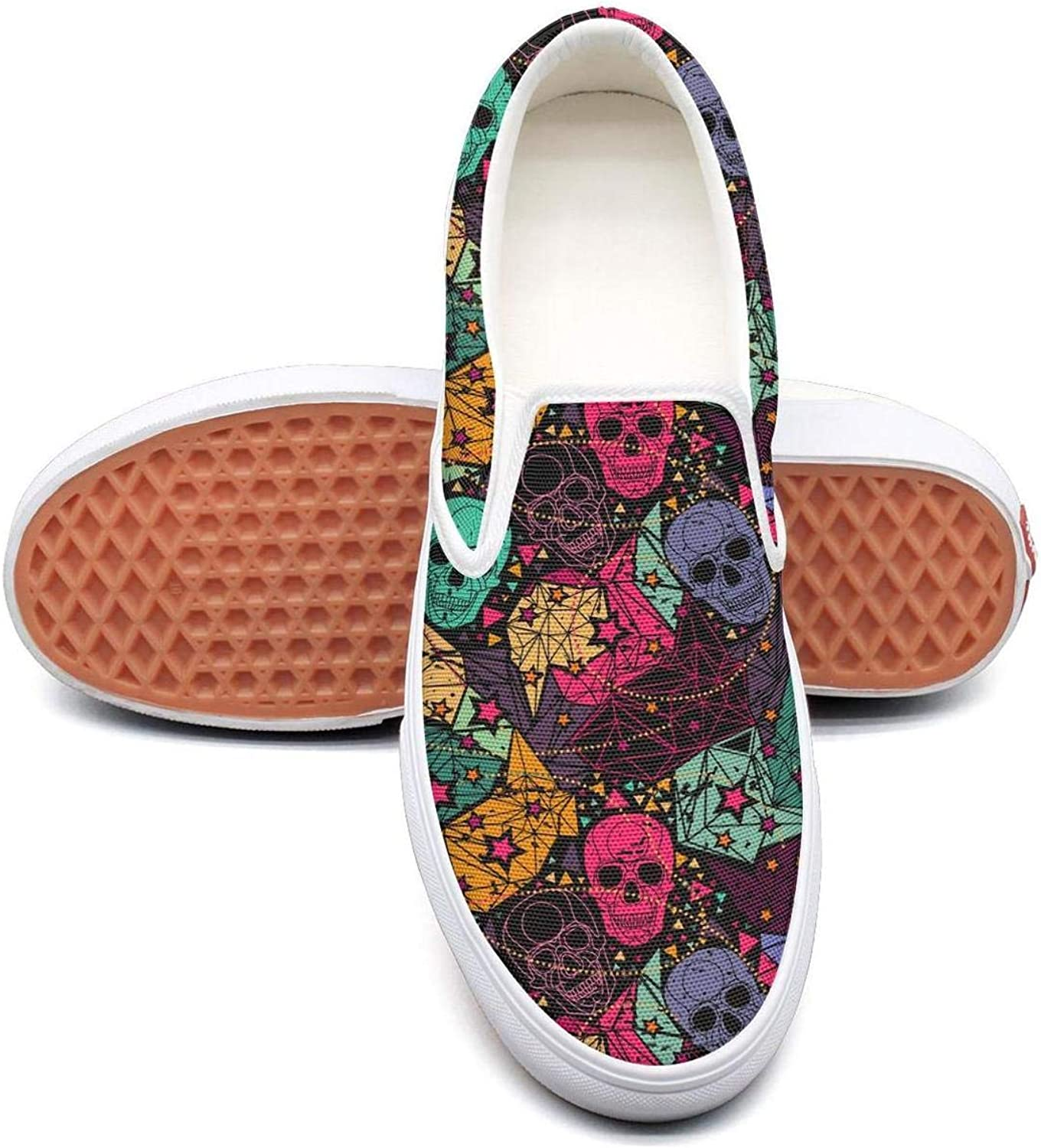 colorful Loungefly Skull Mask Slip On Rubber Sole Sneakers Canvas shoes for Women Fashion