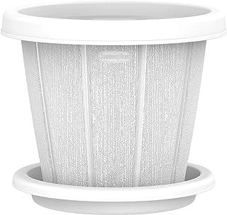 "Cosmoplast Plastic Cedargrain Round Flowerpot 8"" with Tray"
