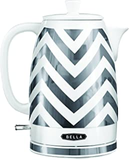 BELLA (14537) 1.8 Liter Electric Ceramic Tea Kettle with Detachable Base & Boil Dry Protection, Silver Chevron, 7.5 Cup Capacity