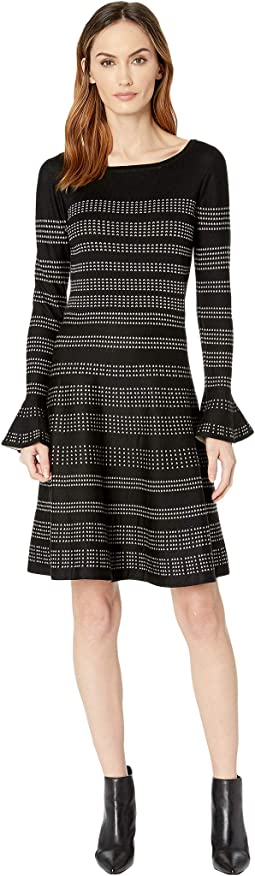 Bell Sleeve A Line Printed Sweater Dress