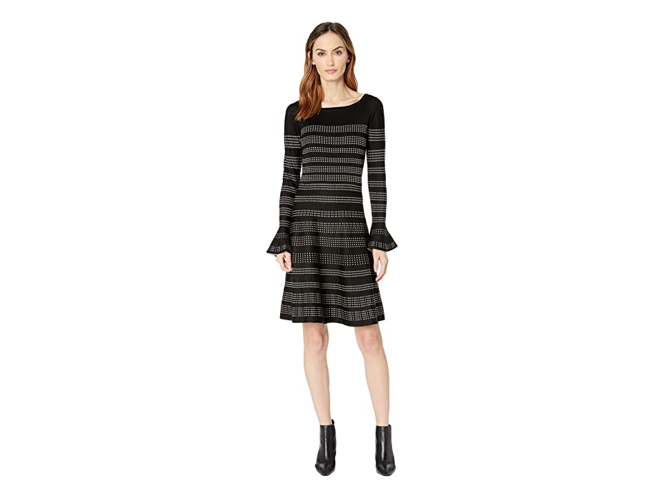 Taylor Bell Sleeve A Line Printed Sweater Dress (Black/Champagne) Women