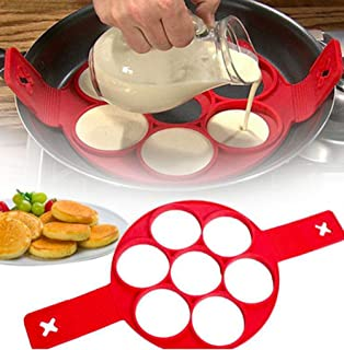 Pancake Mold - Pancake Ring - Nonstick Silicone Perfectly Shaped Pancakes and Eggs - Egg Ring Mold - For Pancake Batter, C...