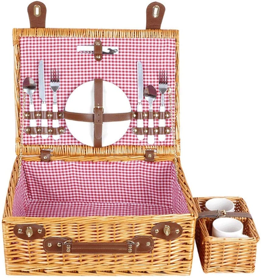 GUOCAO Picnic Bag Willow Basket with Service for 2 Sale Max 52% OFF Special Price Pe Set