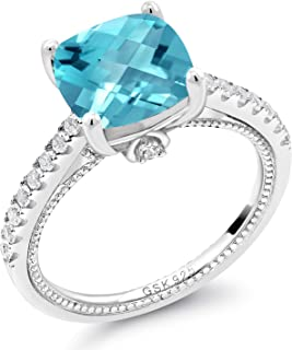 4.32 Ct Cushion Checkerboard Swiss Blue Topaz White Created Sapphire 925 Silver Ring