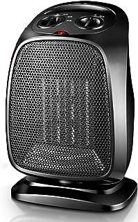 FEI Calefactor Calentador PTC Ceramic Heating Portable 1500 W Oro Negro Corte de Seguridad de inclinación (Color : Negro)