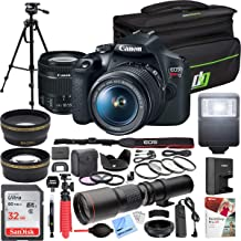 Canon EOS Rebel T7 Digital SLR Camera 18-55mm f/3.5-5.6 is II Kit Bundle with 500mm Preset Telephoto Lens, 32GB Memory Card, Camera Bag, Paintshop Pro 2018 and Accessories (13 Items)