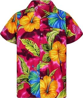 Funky Hawaiian Shirt Men Short-Sleeve Front-Pocket Big Flower Multiple Colors