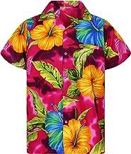 V.H.O. Funky Hawaiian Shirt Men Short-Sleeve Front-Pocket Big Flower Multiple Colors