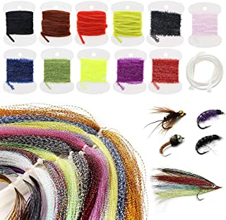 Croch Fly Tying Materials Kit for Dry/Wet Flies, Nymphs and Streamers (10Crystal Flash + 3Flashabou + 7Ice Chenille + 4Rayon Chenille + 1Mylar Tube)