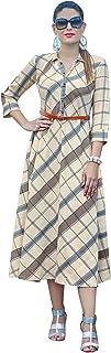 ladyline Pure Cotton Printed FlairedKurti Tunic Belt Womens Dress with Belt Kurta
