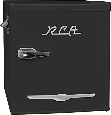 1.6 cu. ft. Retro Bar Fridge with Side Bottle Opener, Black