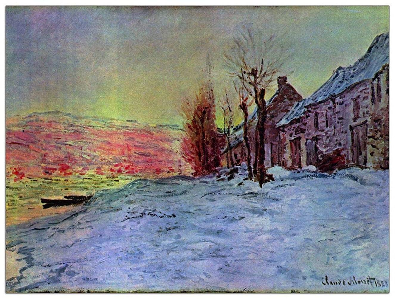 ArtPlaza TW91814 Monet Claude - Lava Court - Sunshine and Snow Decorative Panel 35.5x27.5 Inch Multicolored