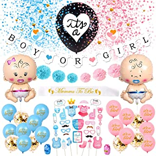Baby Gender Reveal Party Supplies - (65 Pieces) with Photo Props, 36 Inch Gender Reveal Ballon and Sash - Premium Baby Shower Decorations Set - Boy OR Girl Banner - Foil Balloons - Gender Reveal Props