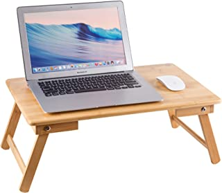 ZHU CHUANG Multifunctional Lap Desk Breakfast Serving Bed Tray Sofa Tray with Foldable Legs Natural Color 100% Solid Bamboo (Basic)