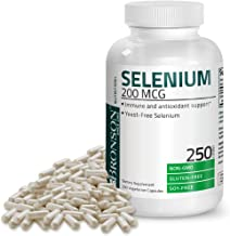 Bronson Selenium 200 mcg for Immune System, Thyroid, Prostate and Heart Health – Yeast Free Selenium Amino Acid Complex - Essential Trace Mineral with Superior Absorption, 250 Capsules