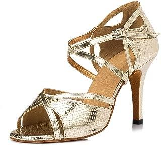 URVIP Women's PU Leather Heels Ballroom Pumps Modern Latin Tango Shoes Cross Ankle Strap Buckle Dance Shoes LD005
