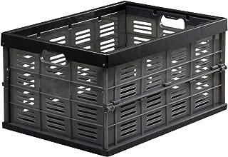 Astage(アステージ) 収納ボックス 折りたたみ式コンテナ NM-35 スモークブラック 奥行49×高さ25.2×幅35cm