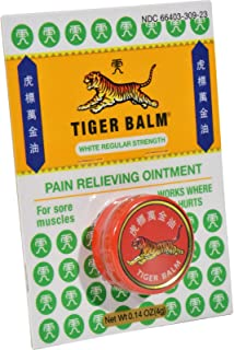Tiger Balm Pain Relieving White Regular Strength, 4g – Travel Size – Muscle Rub – Tiger Balm Tin – Non-Staining Sports Rub...