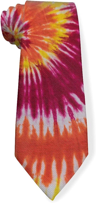 Red Tie Dye Swirl Mens Classic Color Slim Tie, Men's Neckties, Fashion Boys Cravats