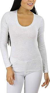 ToBeInStyle Women's Long Sleeve Scoop Neckline T-Shirt
