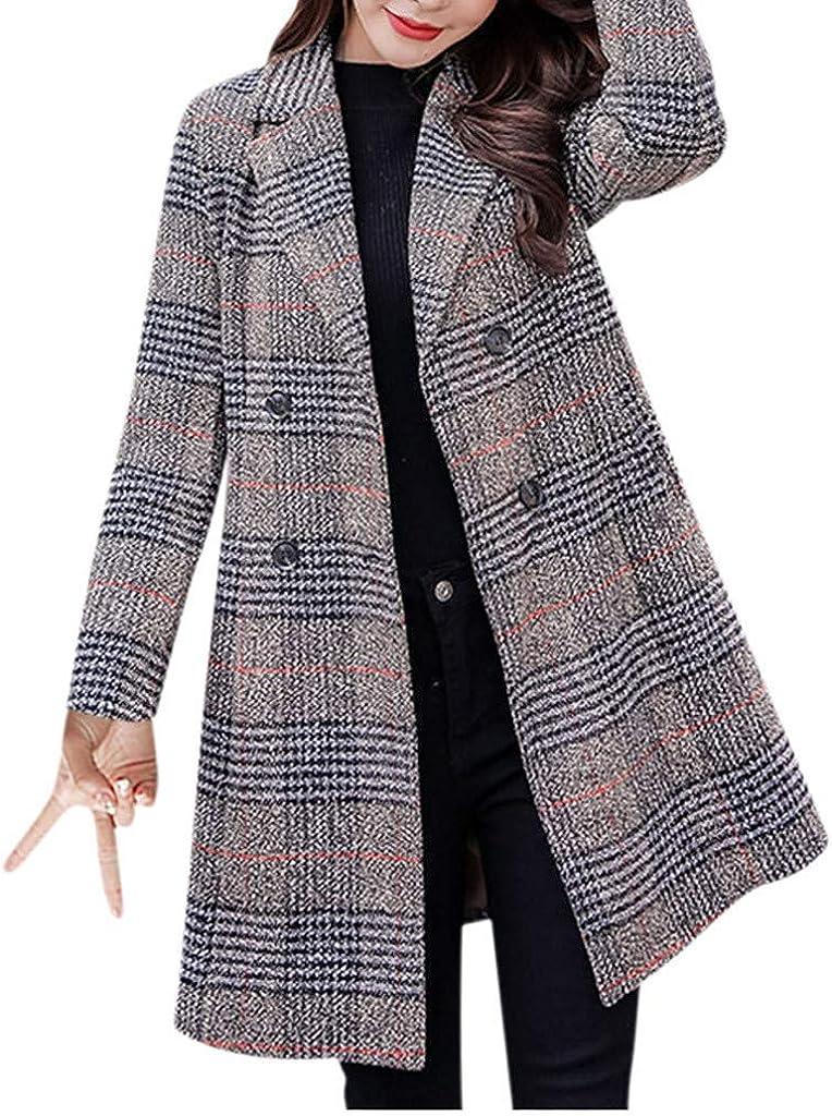 Hotkey Women's Casual Double-Breasted Plaid Jacket Pockets Coat Tops Warm Blouse Overcoat Long Outwear Sweatshirt