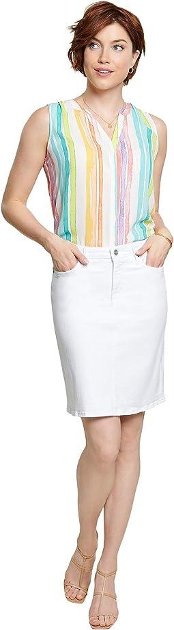Denim Skirt in Optic White