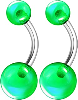 2PCS Surgical Steel Belly Navel Button Rings Bar Studs 14 Gauge 3/8 10mm Acrylic Ball Earrings Piercing Jewelry Choose Colors