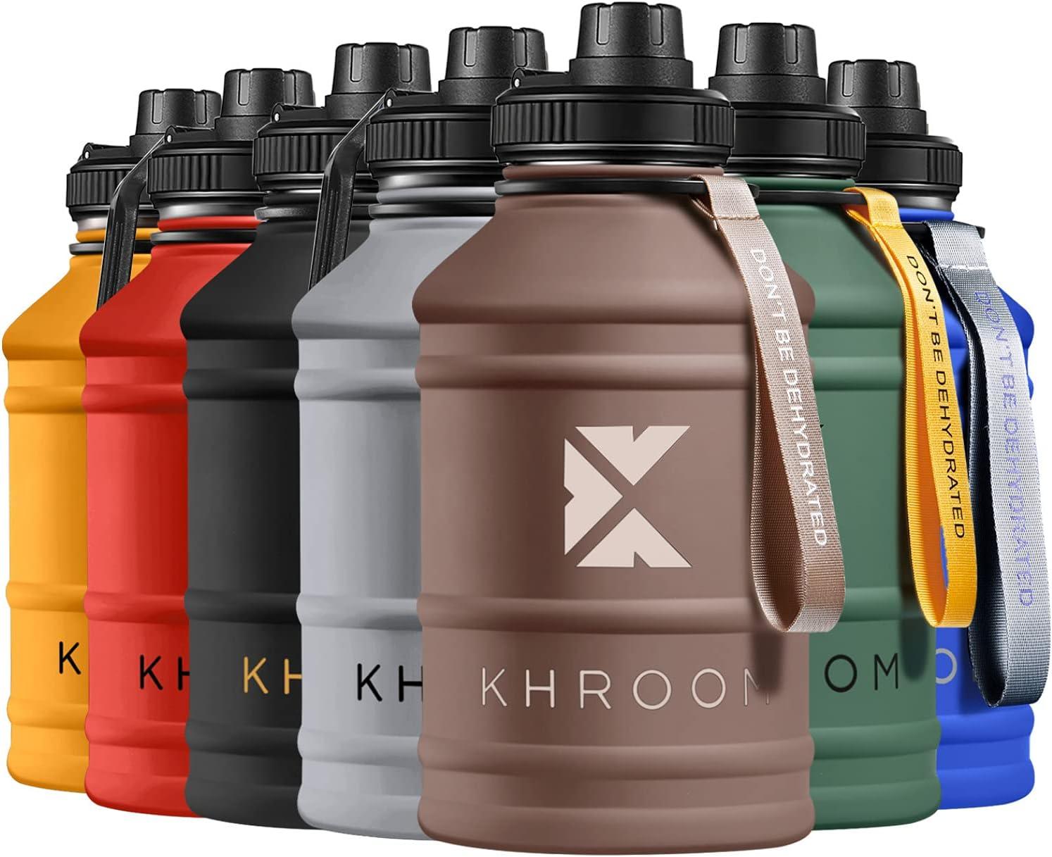 Khroom® Botella de Agua XXL de 2.2 litros de Acero Inoxidable | Adecuado Ácido Carbónico | Libre de BPA | Botella de Fitness de 2L para deportes, gimnasia y ocio (Marrón)