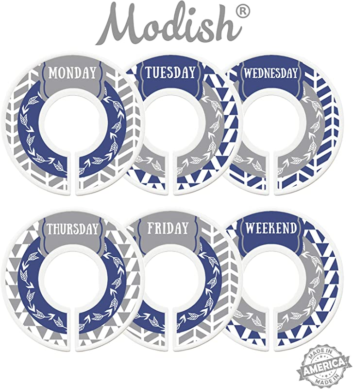 Modish Labels Daily Clothes Organizers Days Of Week Closet Dividers Closet Organizers School Supplies Work Week Clothes Organizer Boy Male Men Arrows Tribal Navy Blue Gray Grey Days