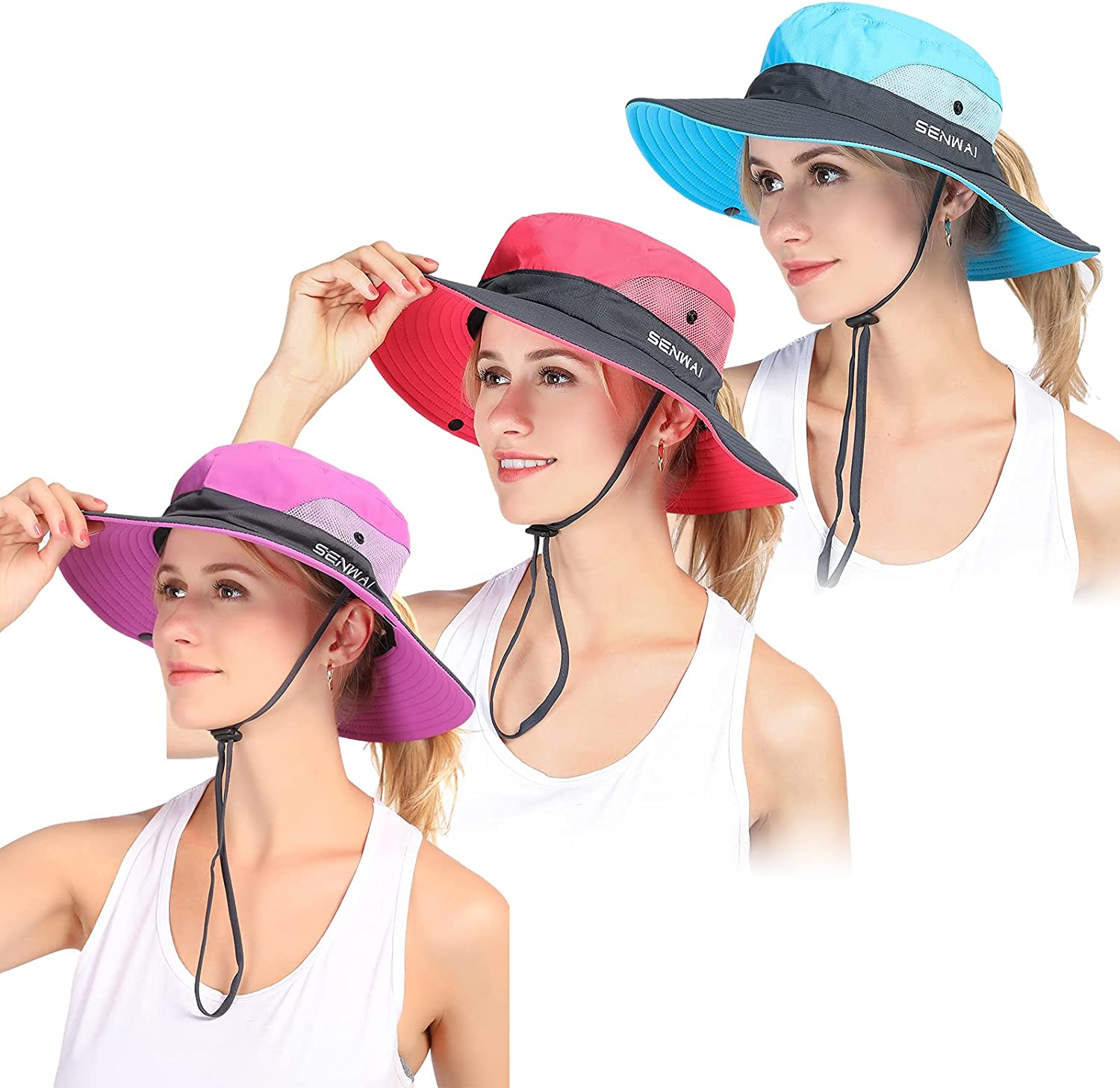 Women's Sun Hats UV Protection Foldable Outdoor Fishing Cap with Ponytail Hole Beach