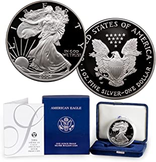2004 W Proof American Eagle Silver Dollar with Original Packaging and COA $1 PR DCAM US Mint