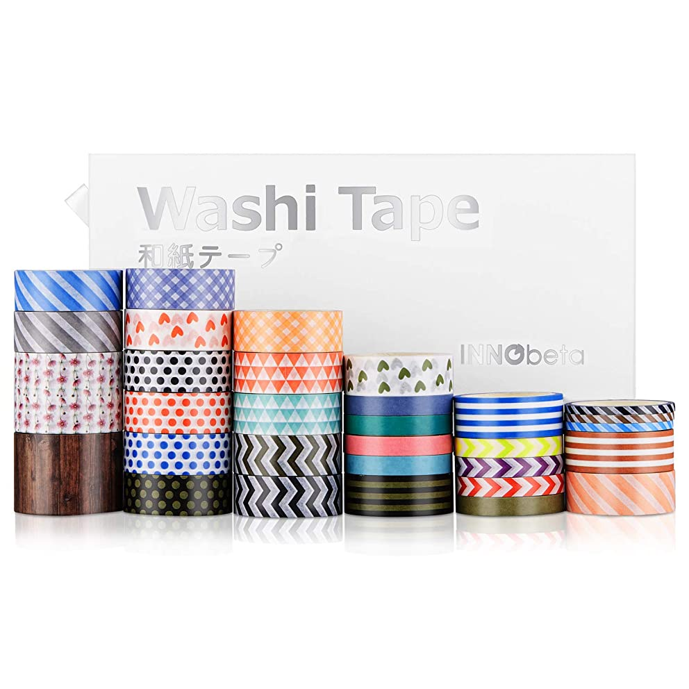Washi Tape Set, Decorative Tape, Colored Tape, Washi Masking Tape with Storage Box, Scrapbooking Supplies, School Supplies, for Planners, Arts, Crafts, DIY, Gifts Warpping, Diary