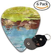 XiHuan Abstract Art Background Oil Painting On Canvas Green And Yellow Texture Fragment Of Artwork Stylish Celluloid Guitar Picks Plectrums For Guitar Bass .96mm 6 Pack