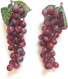 Gecter 2 Bunches of 45Pcs Artificial Grapes Cluster Simulation Fake Fruit Home House Kitchen Party Decor Lifelike(Purple)