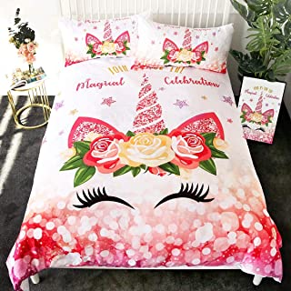 Sleepwish Floral Unicorn Bedding 3 Pieces Magical Kids Girls Duvet Cover Full Glitter Pink and Gold Eye Unicorn Face Bed Covers Unicorn Room Decor