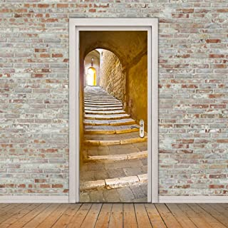 ChezMax 3D Door Mural Art Sticker Removable Self Adhesive Wall Decal for Home Decoration Stone Steps Pattern 30.3
