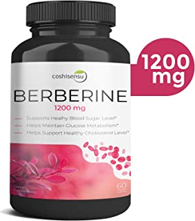 Berberine HCI 1200mg - Premium Diabetes Berberine Supplements - 60 Capsules Maximum Strength HCI - Supports Glucose Metabolism - Immune System - Cardiovascular - Non-GMO - Made in USA