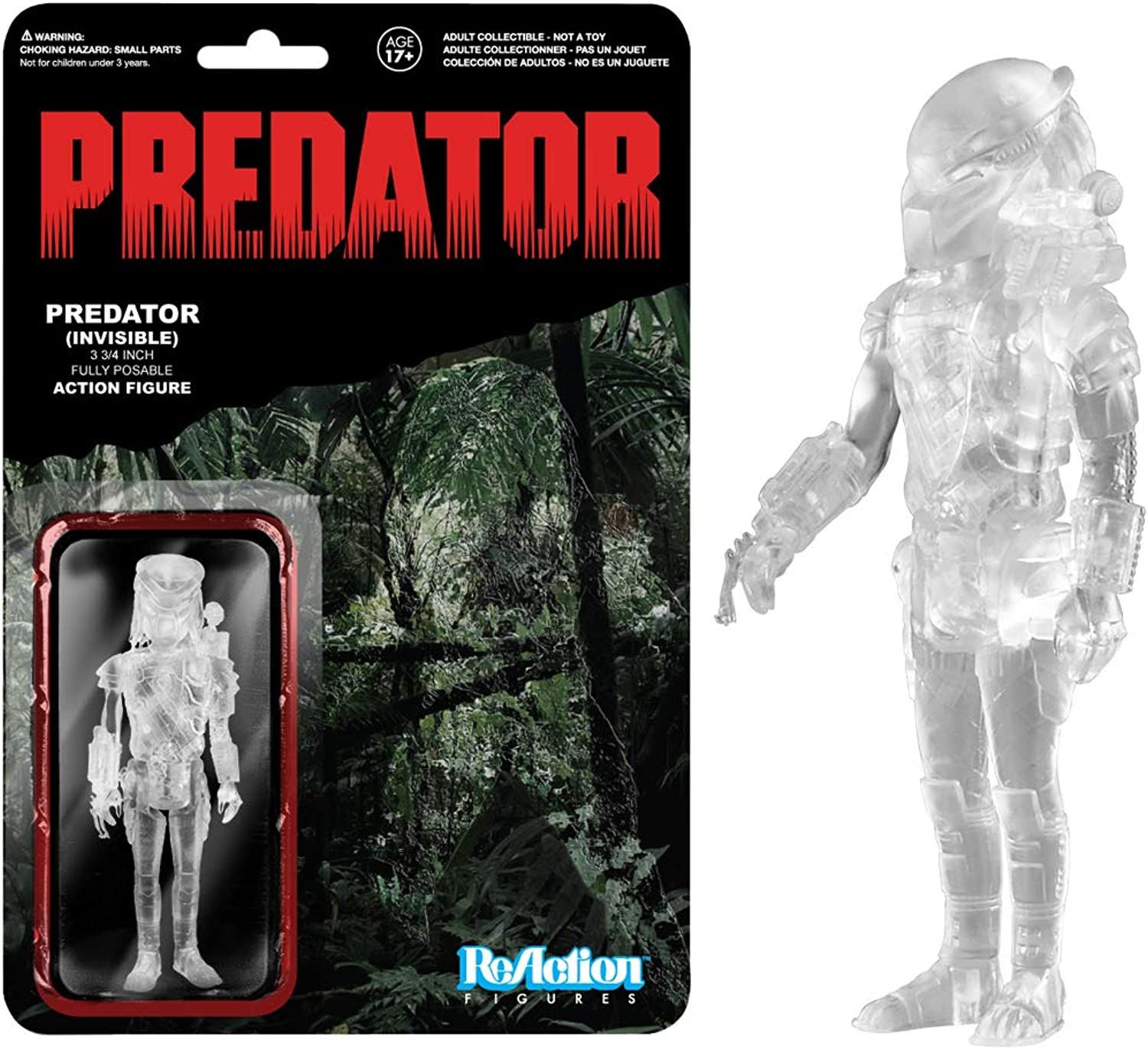 Predator Clear Masked Predator ReAction 3 3 4-Inch Retro Action Figure by Predator