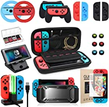 Switch Accessories Bundle, Kit with Carrying Case, Protective Case with Screen Protector, Compact Playstand,Game Case, Joy...