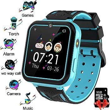 Reloj Inteligente para Niños blue, Smart Watch con Reproductor de MúSica SOS Linterna Cámara 7 Juegos Y Reproductor de MúSica, Reloj de Pulsera Digital para Niños De 3-12 Años Tarjeta SD Incluida: